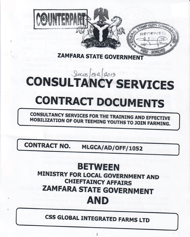 Zamfara State Government Signs Consultancy Agreement with CSS Global Integrated Farms